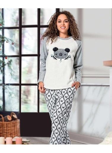 Loya Koala Desenli Kadın Pijama Takımı Ekru